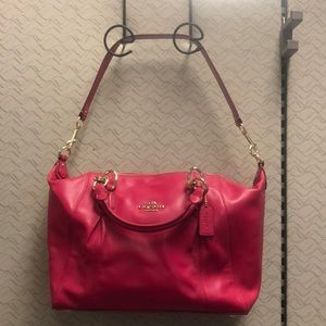 NWT Coach Colette Pink Ruby Leather Satchel